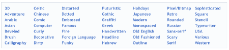 Les mots clefs dans l'interface Web d'Urbanfonts