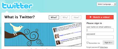 Homepage de twitter