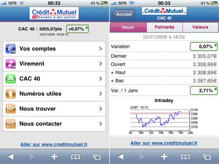 Version mobile du site du Crédit Mutuel