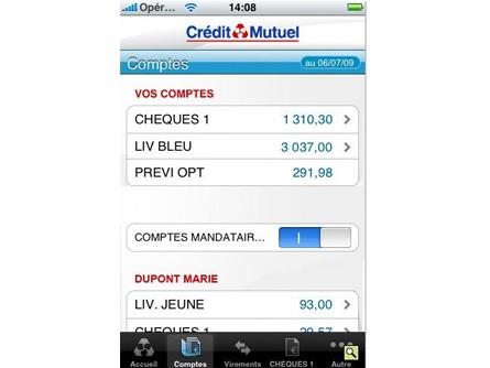 App iPhone Crédit Mutuel