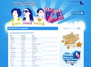 """La page de communication des gagnants au jeu """"Yes We Pop"""" de la Banque Populaire de l'Ouest"""