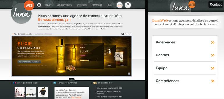 Site web et site mobile de LunaWeb