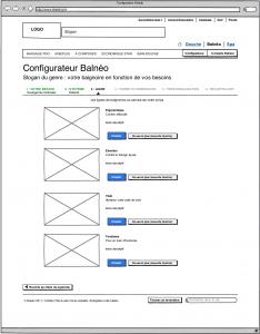 Maquette ergonomique de page Web, sous la forme d'un wireframe