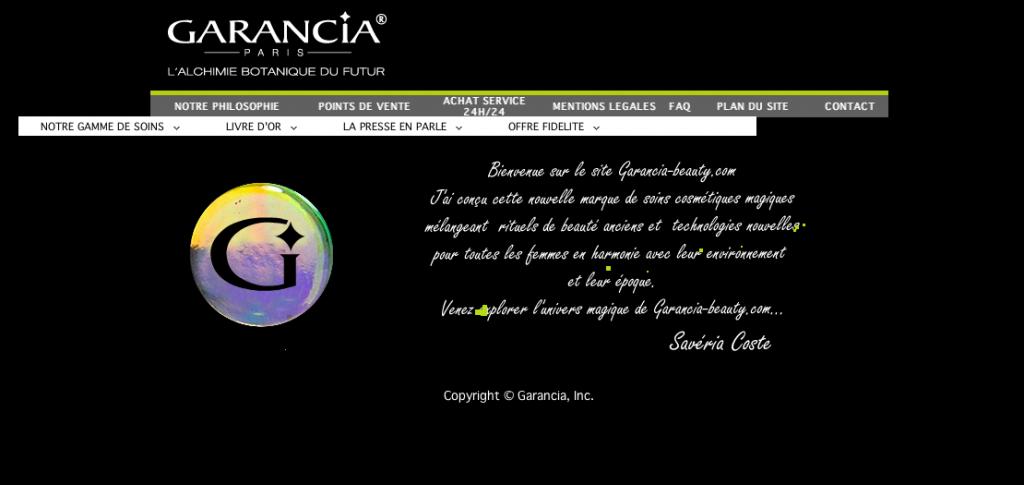 Capture du site web de Garancia, cosmétiques