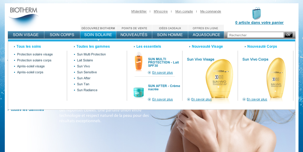 Capture du site web de Biotherm