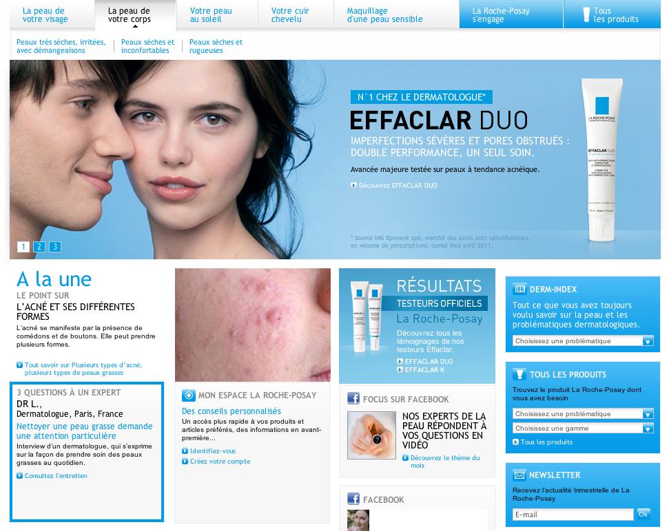 Capture du site web de La Roche Posay, cosmétiques