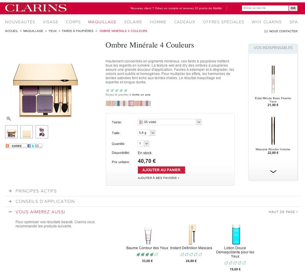 Capture achat site web Clarins