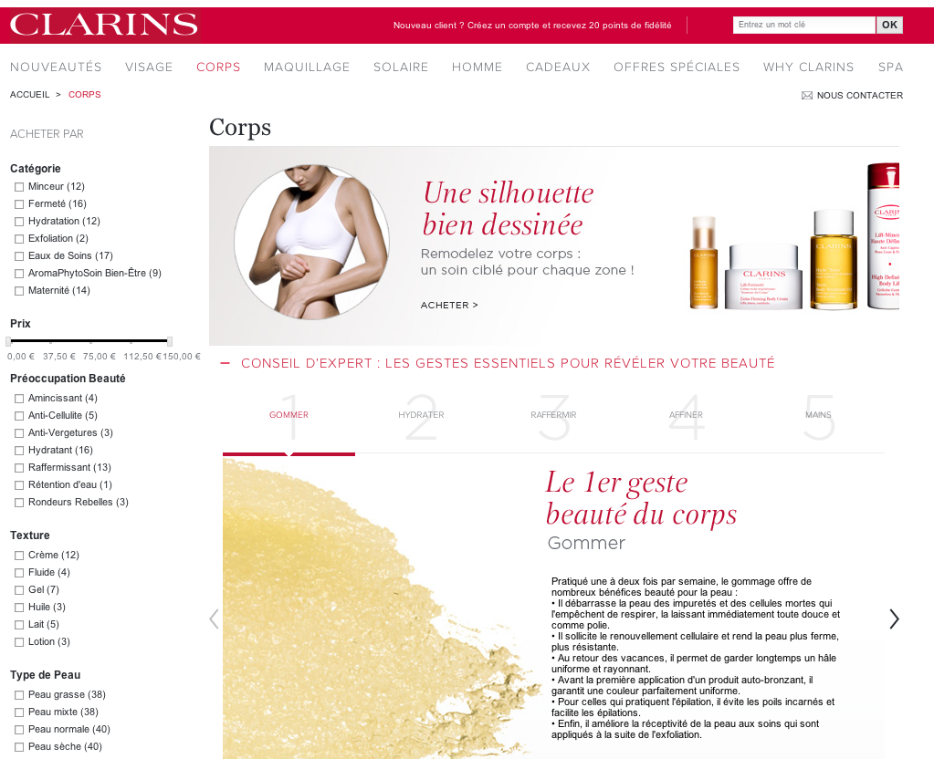 Capture du site web de Clarins, catalogue produit