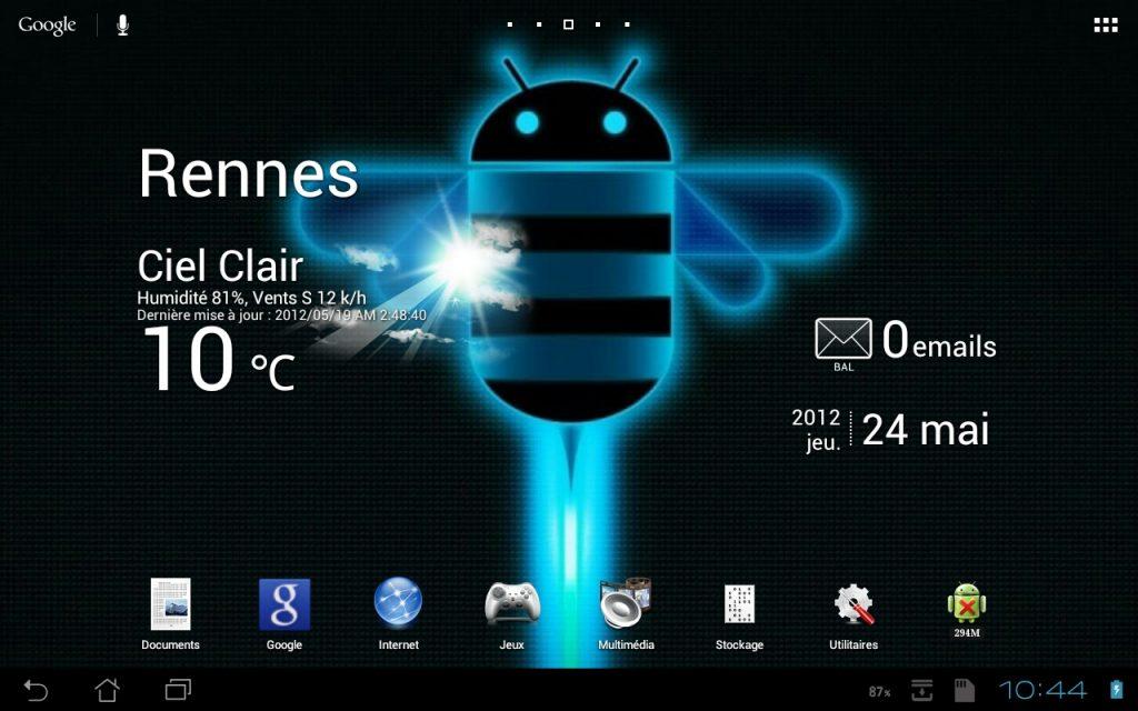 L'écran d'accueil de la tablette Asus Eee Pad Transformer