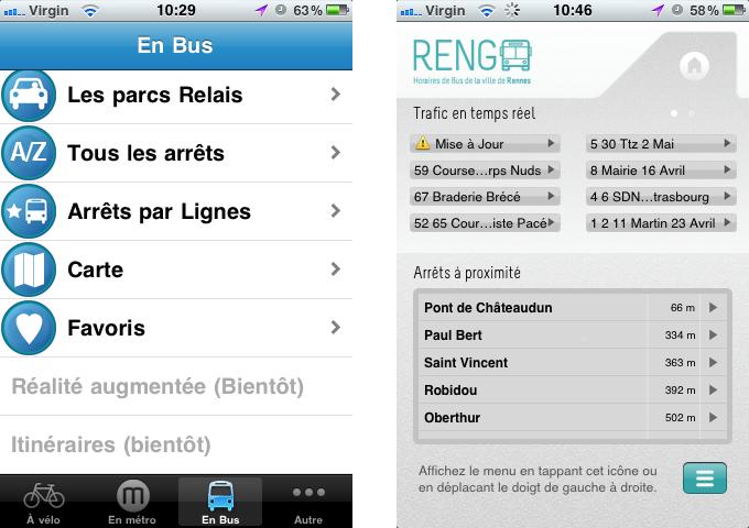 Les deux écrans d'accueil de Mobil'Rennes (à gauche) et Rengo (à droite)