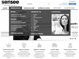Page d'accueil de Sensee avec son menu survolé