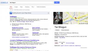 Exemple d'une requête restaurant sur Google