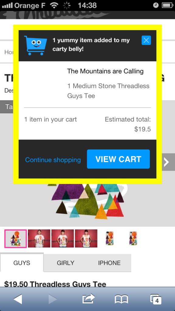 Notification d'ajout au panier e-commerce