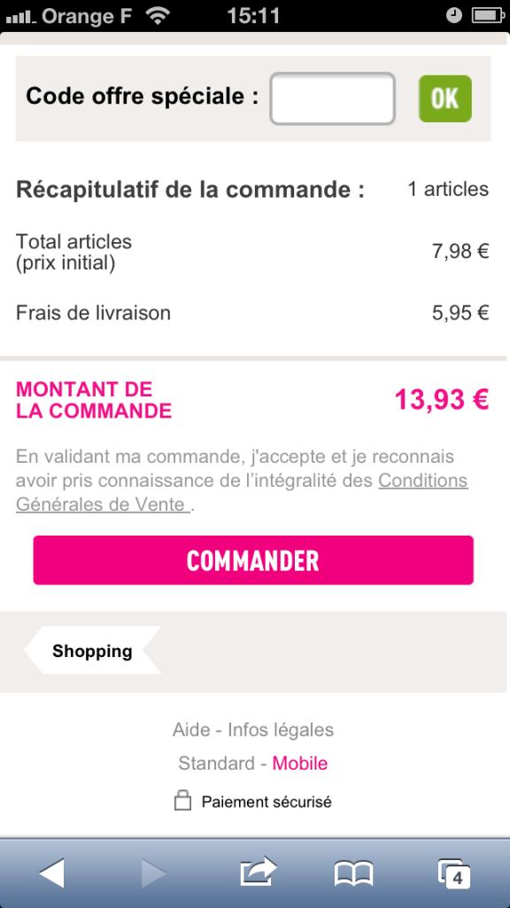 Panier d'achat sur site mobile La Redoute