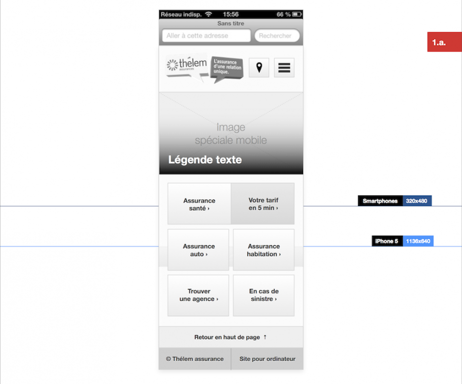 Wireframe de la version mobile du site Thélem assurances