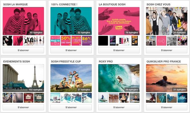 La page Pinterest de Sosh