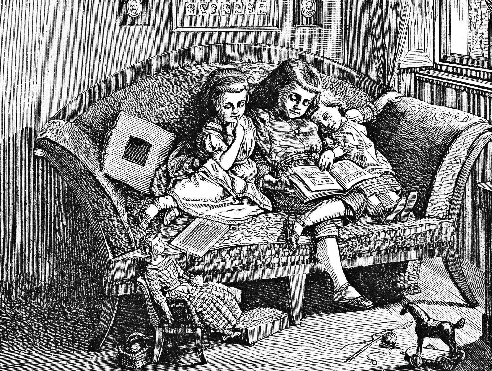 fillettes écoutant une histoire