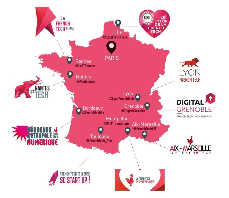 Les neuf métropoles françaises, labellisées French Tech en 2014