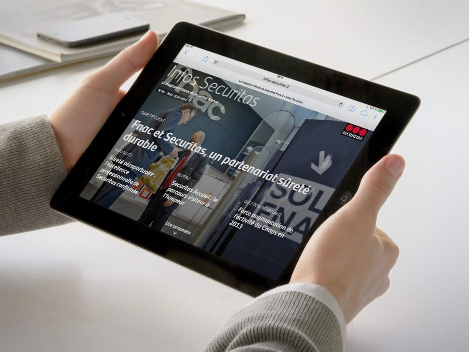 Le web-magazine Infos Securitas vu sur tablette