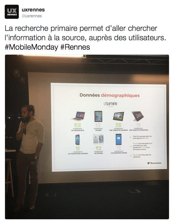Recherche primaire et panel utilisateurs, conférences UX Rennes et LunaWeb