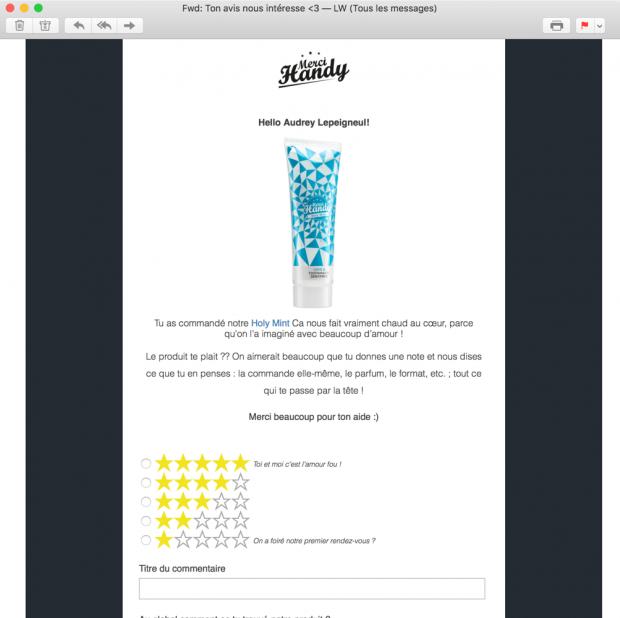 L'utilisateur répond directement au formulaire de satisfaction depuis l'e-mailing