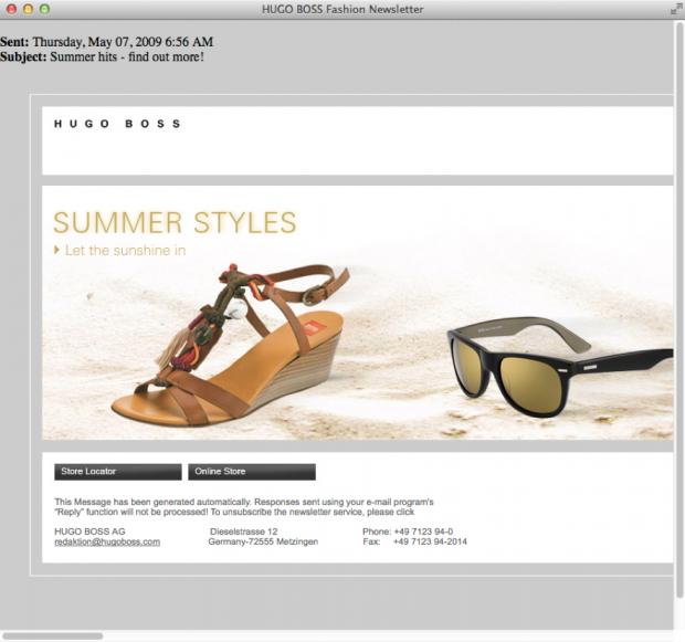 Exemple de vertical scrolling dans une campagne e-mailing d'Hugo Boss