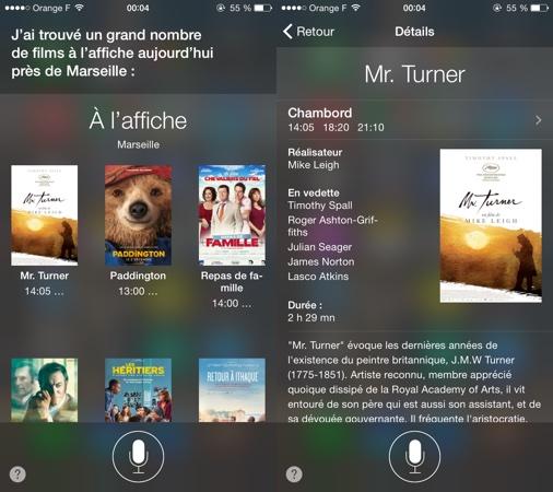 Recherche vocale avec Siri sur iOS