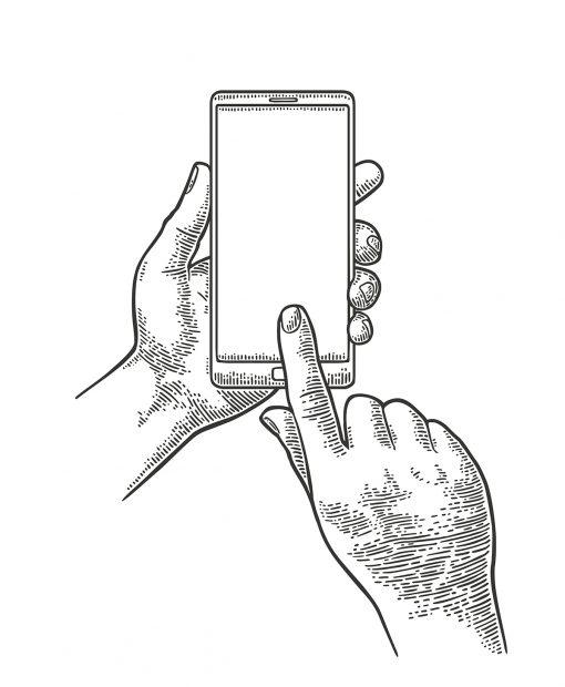 gravure main d'homme tenant un smartphone, un doigt touchant l'écran