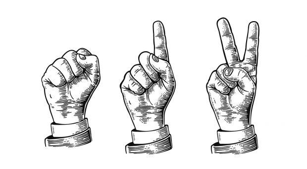 Ensemble de gestes de mains comptant de zéro à trois, signe de la main de l'homme.