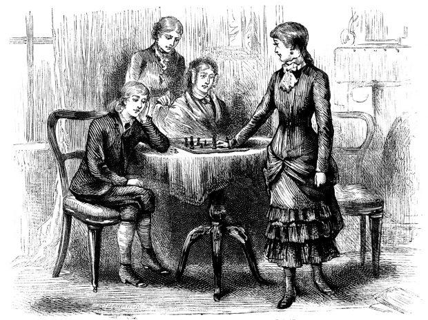 gravure ancienne, femmes autour d'une table jouant aux échecs