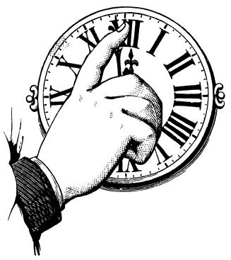 Gravure ancienne d'une main ajustant l'heure sur une horloge.