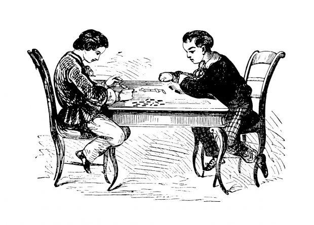 Gravure ancienne, deux garçons jouant aux domino.