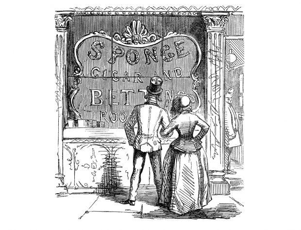 Vieille gravure d'un couple regardant dans la vitrine d'un magasin - LunaWeb