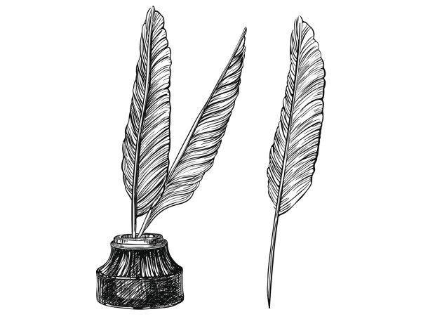 gravure d'un encrier rétro et de 3 plumes - LunaWeb