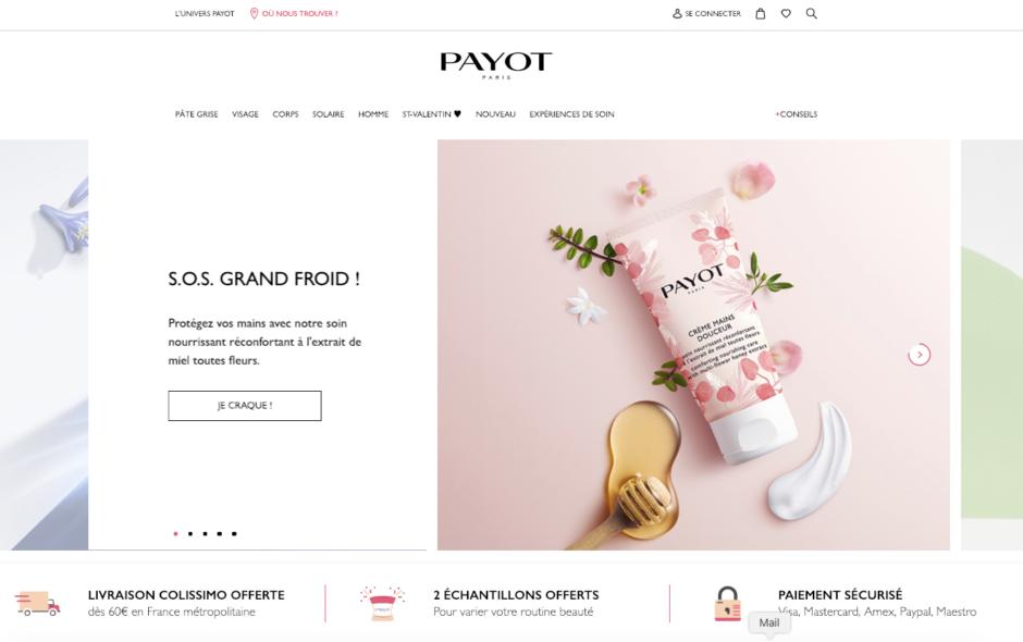 site-ecommerce-Payot-cosmétique