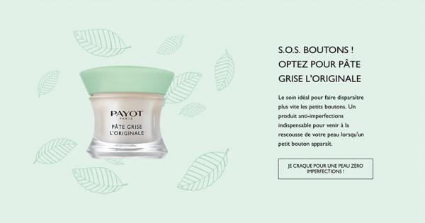 Ecommerce site Payot optimisation boutons