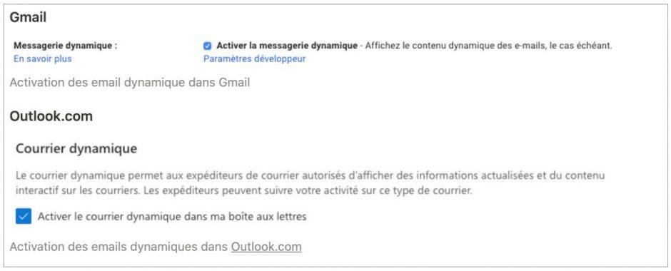Activation des Emails dynamiques Google AMP