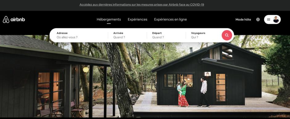 Page d'accueil de Airbnb