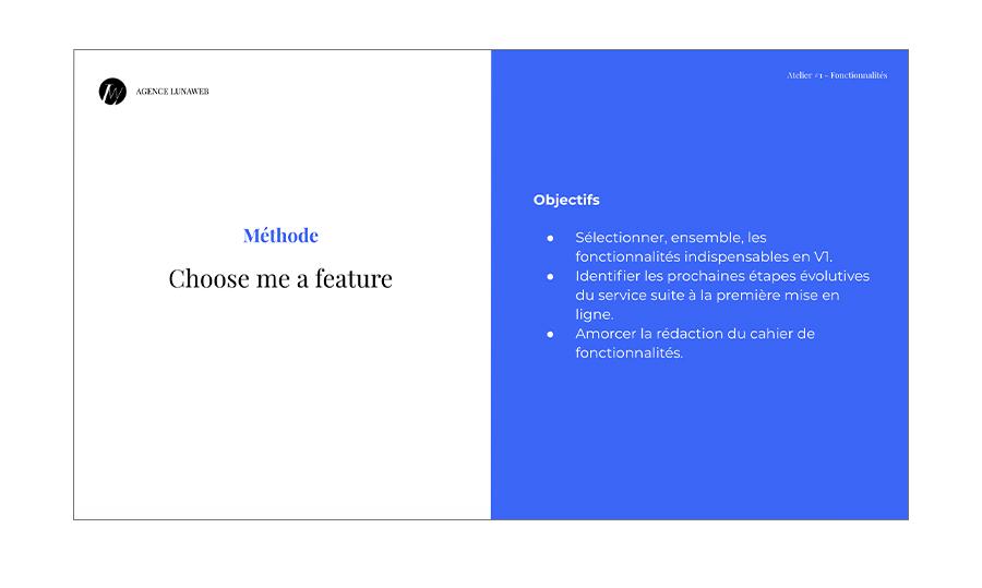 Atelier conception fonctionnelle - choose me a feature objectifs