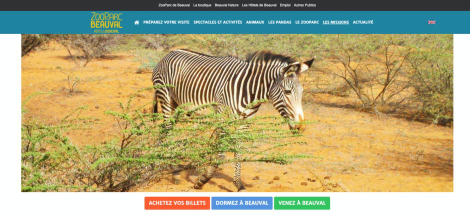 La home-page du ZooParc de Beauval avant sa refonte