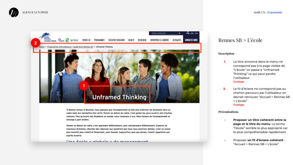 Etude d'une page de Rennes School of business