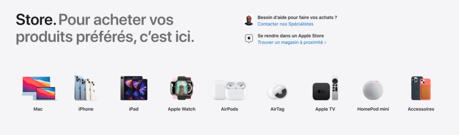 Exemple d'UX writing sur la page d'accueil du site d'Apple.