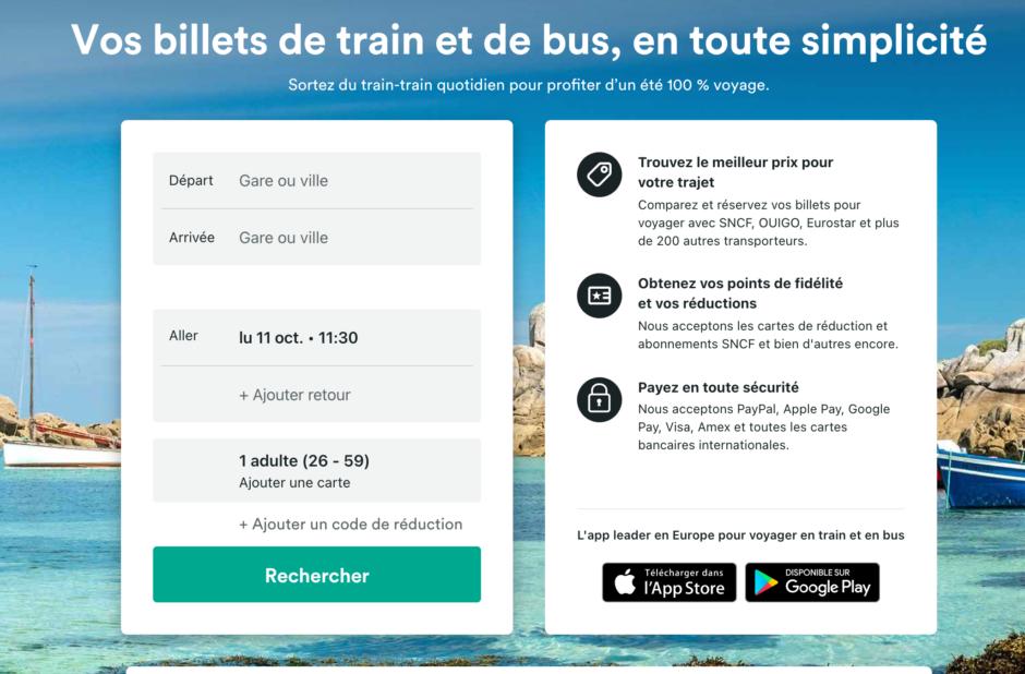 Page d'accueil du site Trainline.
